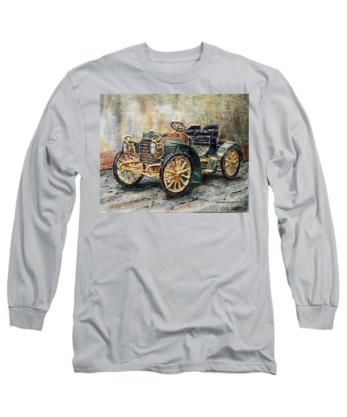 Long Sleeve T-Shirt featuring the painting 1901 Mercedes Benz by Joey Agbayani