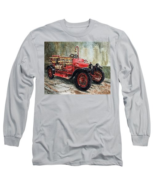 Long Sleeve T-Shirt featuring the painting 1912 Porsche Fire Truck by Joey Agbayani