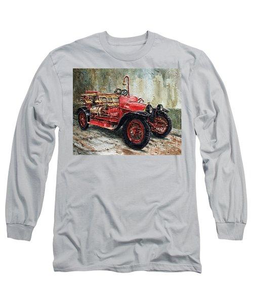 1912 Porsche Fire Truck Long Sleeve T-Shirt by Joey Agbayani
