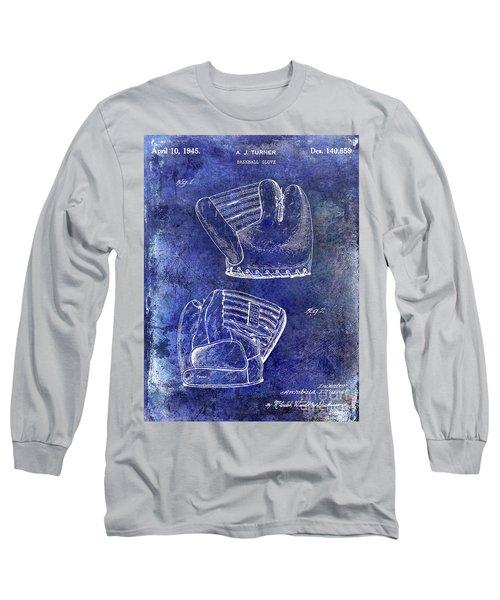 1945 Baseball Glove Patent Blue Long Sleeve T-Shirt by Jon Neidert
