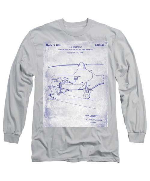 1953 Helicopter Patent Blueprint Long Sleeve T-Shirt