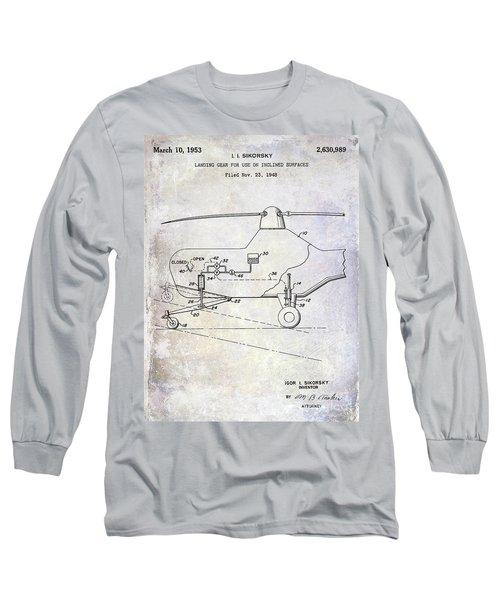 1953 Helicopter Patent Long Sleeve T-Shirt by Jon Neidert