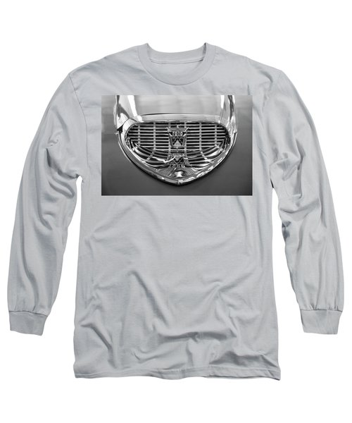 Long Sleeve T-Shirt featuring the digital art 1958 Ford Fairlane Sunliner Intake Bw by Chris Flees