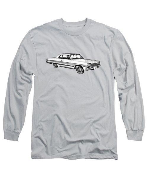 1964 Chevrolet Impala Car Illustration Long Sleeve T-Shirt