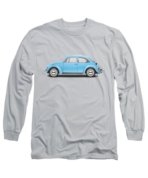 1972 Volkswagen Super Beetle - Marina Blue Long Sleeve T-Shirt by Ed Jackson