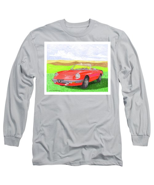 Long Sleeve T-Shirt featuring the painting 1983 Alfa Romero Spider Veloce by Jack Pumphrey