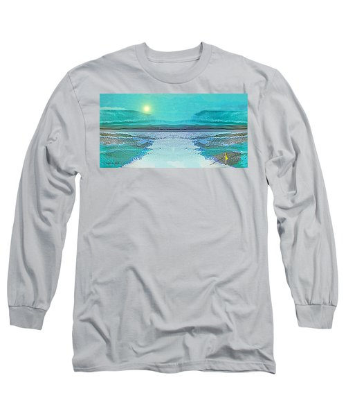 Long Sleeve T-Shirt featuring the digital art 1983 - Blue Waterland -  2017 by Irmgard Schoendorf Welch