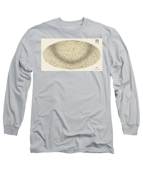 2017 Pi Day Star Chart Hammer/aitoff Projection Long Sleeve T-Shirt