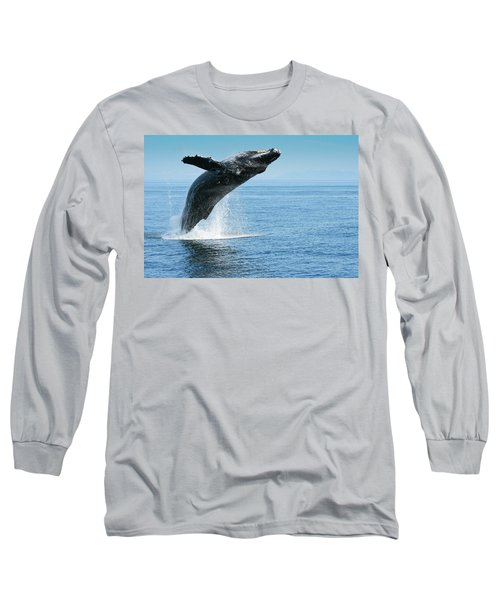 Breaching Humpback Whales Happy-1 Long Sleeve T-Shirt
