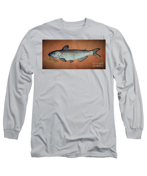 Long Sleeve T-Shirt featuring the drawing Catfish by Andrew Drozdowicz