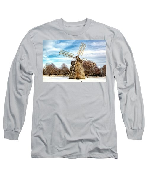 Long Sleeve T-Shirt featuring the photograph Corwith Windmill Long Island Ny Cii by Susan Candelario