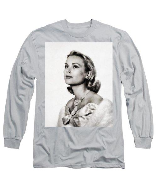 Grace Kelly, Vintage Hollywood Actress Long Sleeve T-Shirt by John Springfield