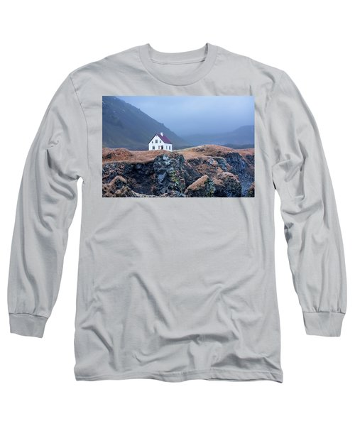 House On Ocean Cliff In Iceland Long Sleeve T-Shirt by Joe Belanger