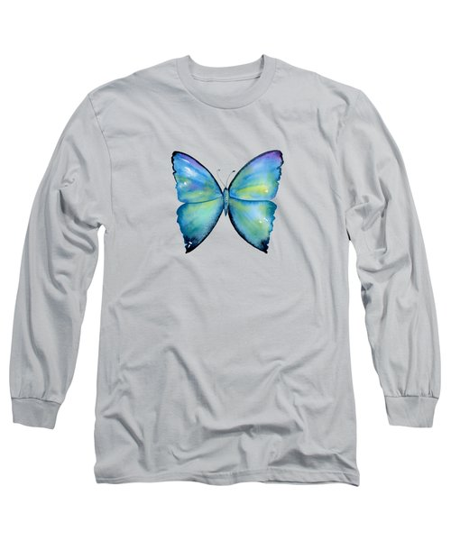 2 Morpho Aega Butterfly Long Sleeve T-Shirt by Amy Kirkpatrick