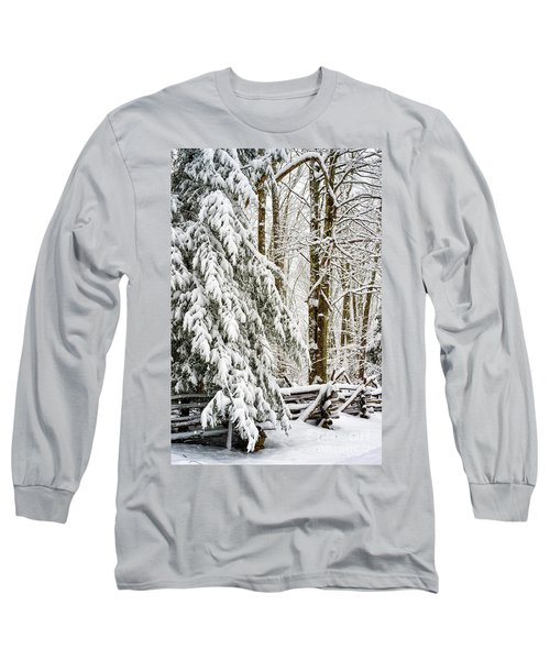Long Sleeve T-Shirt featuring the photograph Rail Fence And Snow by Thomas R Fletcher