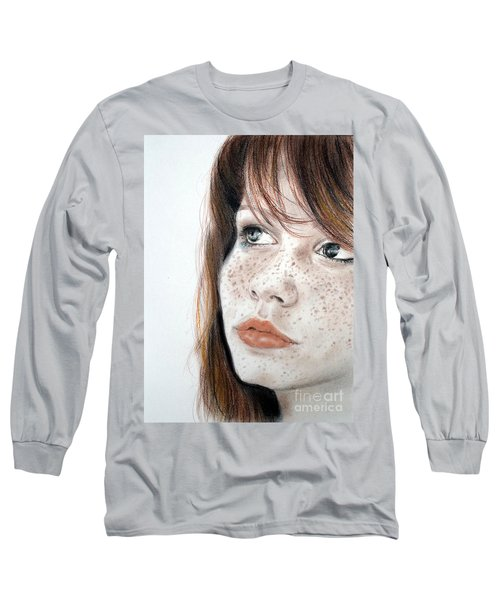 Long Sleeve T-Shirt featuring the pastel Red Hair And Freckled Beauty by Jim Fitzpatrick