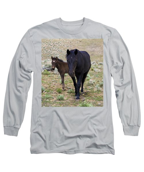 Wild Mustang Mare And Foal Long Sleeve T-Shirt
