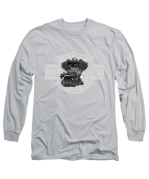 Long Sleeve T-Shirt featuring the digital art 2015 Harley-davidson Street-xg750 Engine With 3d Badge  by Serge Averbukh