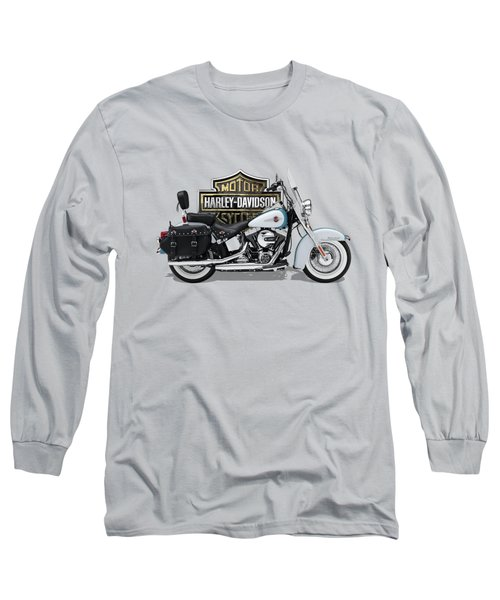 Long Sleeve T-Shirt featuring the digital art 2017 Harley-davidson Heritage Softail Classic  Motorcycle With 3d Badge Over Vintage Background  by Serge Averbukh