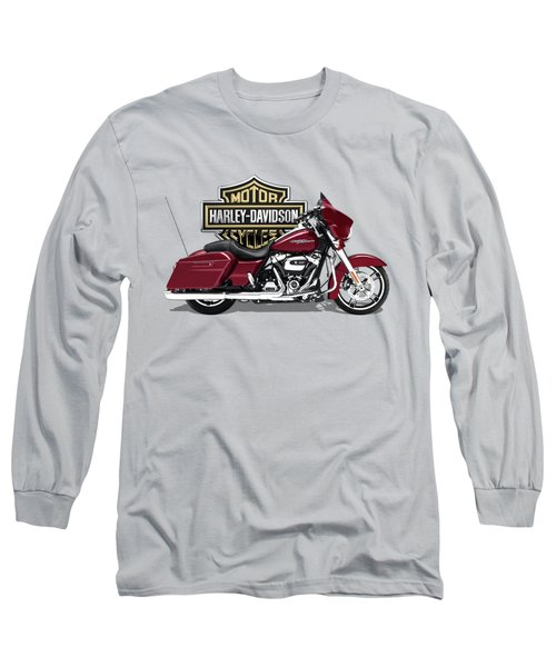 Long Sleeve T-Shirt featuring the digital art 2017 Harley-davidson Street Glide Special Motorcycle With 3d Badge Over Vintage Background  by Serge Averbukh