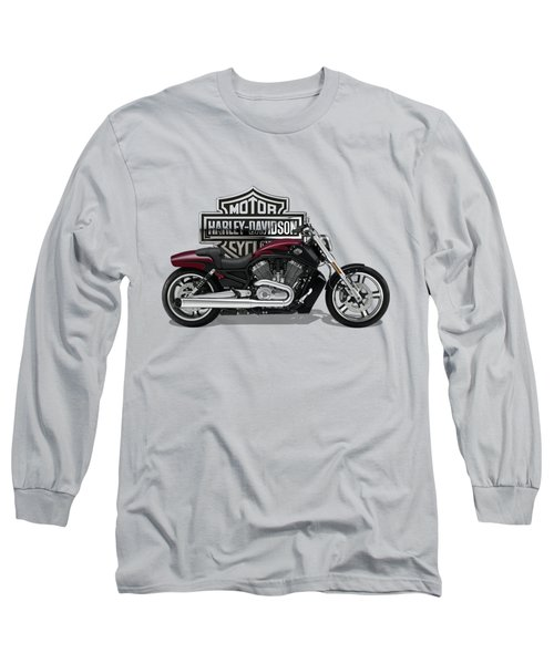 Long Sleeve T-Shirt featuring the digital art 2017 Harley-davidson V-rod Muscle Motorcycle With 3d Badge Over Vintage Background  by Serge Averbukh