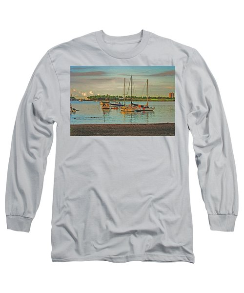 Long Sleeve T-Shirt featuring the digital art 3- Anchored Out by Joseph Keane