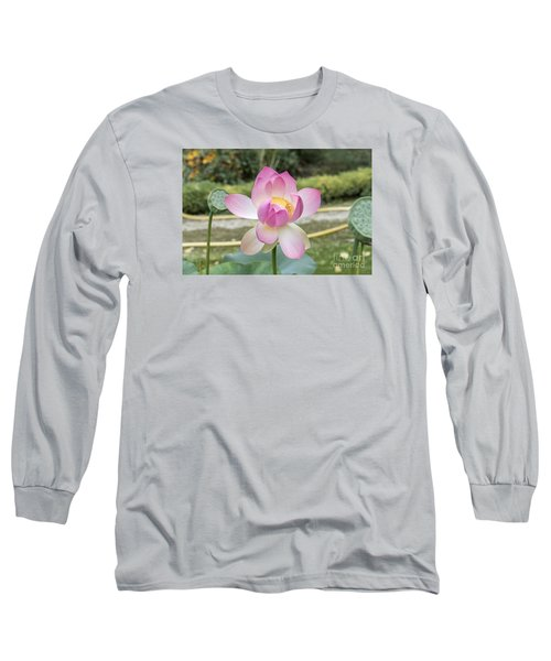 Beautiful Indian Lotus Long Sleeve T-Shirt by Odon Czintos
