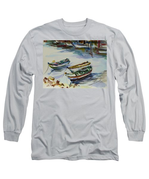 Long Sleeve T-Shirt featuring the painting 3 Boats I by Xueling Zou