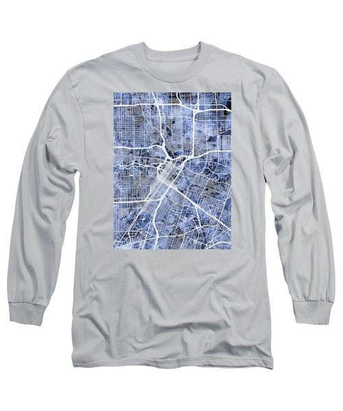 Houston Texas City Street Map Long Sleeve T-Shirt by Michael Tompsett
