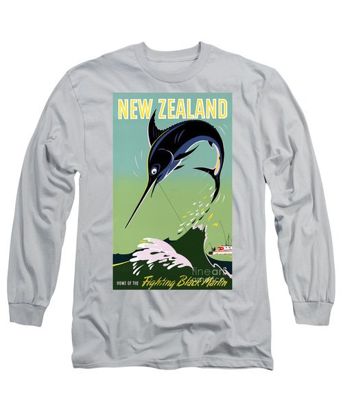New Zealand Vintage Travel Poster Restored Long Sleeve T-Shirt