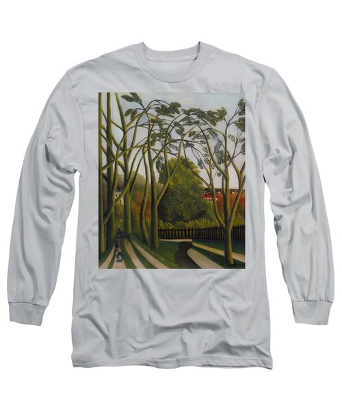 Long Sleeve T-Shirt featuring the painting The Banks Of The Bievre Near Bicetre by Henri Rousseau