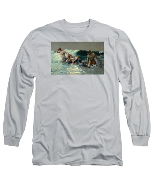 Long Sleeve T-Shirt featuring the painting Undertow by Winslow Homer