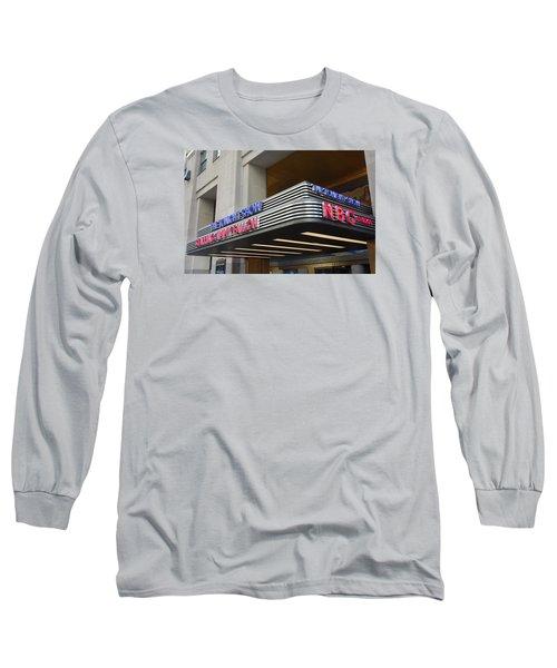 Long Sleeve T-Shirt featuring the photograph 30 Rock Jimmy Fallon Marquee by Melinda Saminski