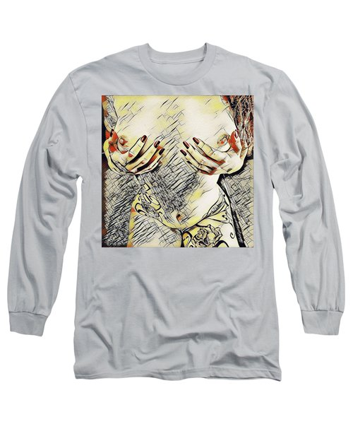 3787s-drl Cupping Her Breasts Erotica In The Style Of Kandinsky Long Sleeve T-Shirt
