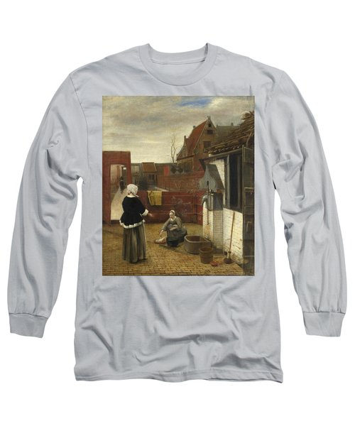 A Woman And Her Maid In A Courtyard Long Sleeve T-Shirt