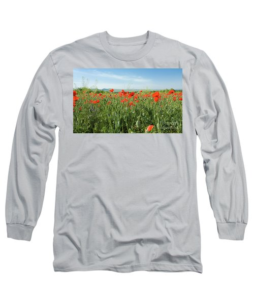 Meadow With Red Poppies Long Sleeve T-Shirt by Irina Afonskaya