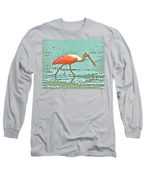 Long Sleeve T-Shirt featuring the digital art 4- Roseate Spoonbill by Joseph Keane