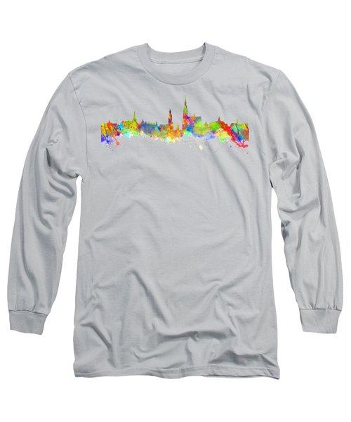 Watercolor Art Print Of The Skyline Of Antwerp In Belgium Long Sleeve T-Shirt