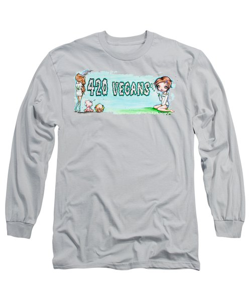 Long Sleeve T-Shirt featuring the painting 420 Vegans by Lizzy Love
