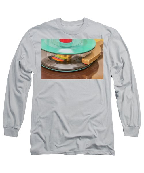 Long Sleeve T-Shirt featuring the photograph 45 Rpm Record In Play Mode by Gary Slawsky
