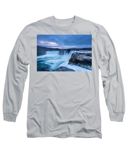 Godafoss Waterfall In Iceland Long Sleeve T-Shirt
