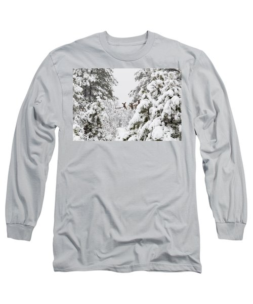 Elk In Deep Snow In The Pike National Forest Long Sleeve T-Shirt