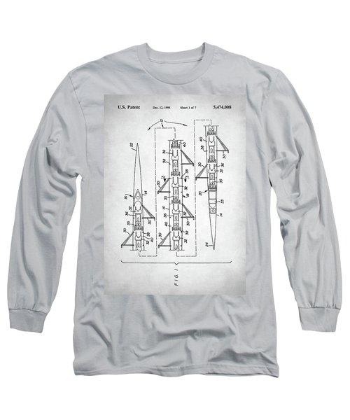 Long Sleeve T-Shirt featuring the digital art 8 Man Rowing Shell Patent by Taylan Apukovska