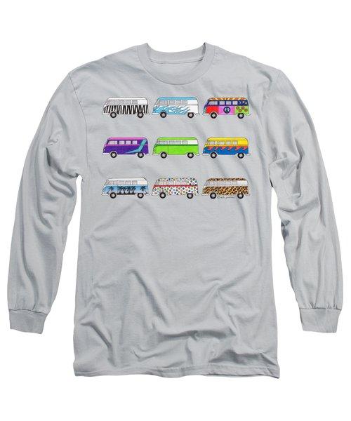 9 Wild Buses Long Sleeve T-Shirt by Rita Palmer