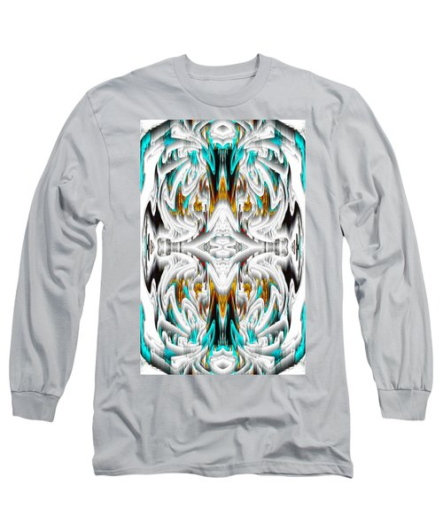 Long Sleeve T-Shirt featuring the digital art 992.042212mirror2ornategoldablue-1 by Kris Haas