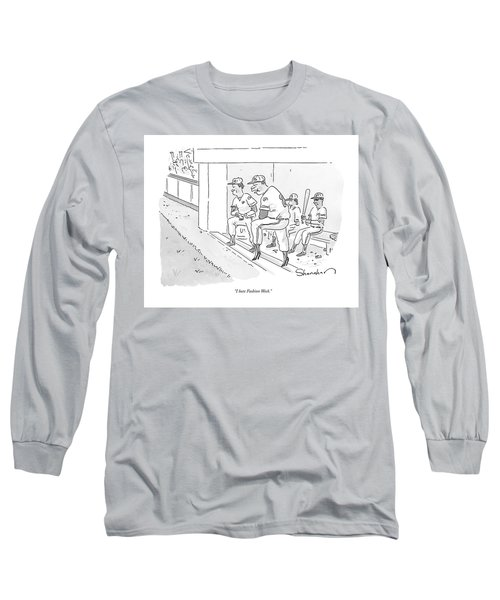 A Baseball Player Leans Out Of The Dugout Long Sleeve T-Shirt