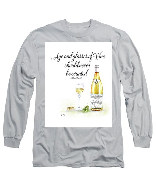 A Bottle Of White Wine Long Sleeve T-Shirt by Colleen Taylor