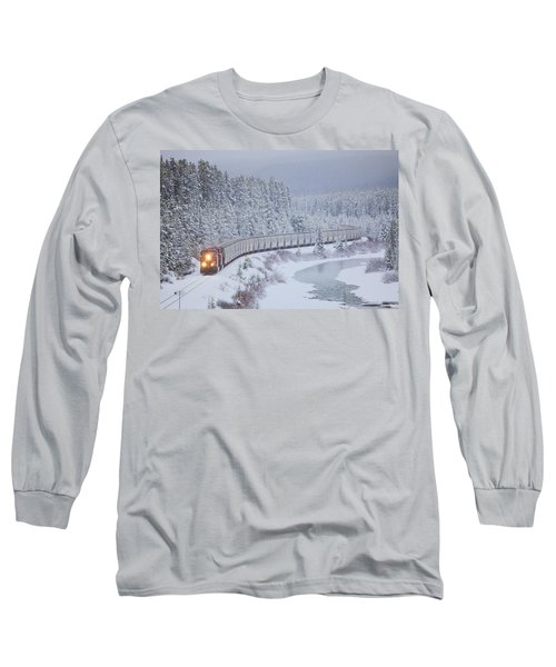 A Canadian Pacific Train Travels Along Long Sleeve T-Shirt