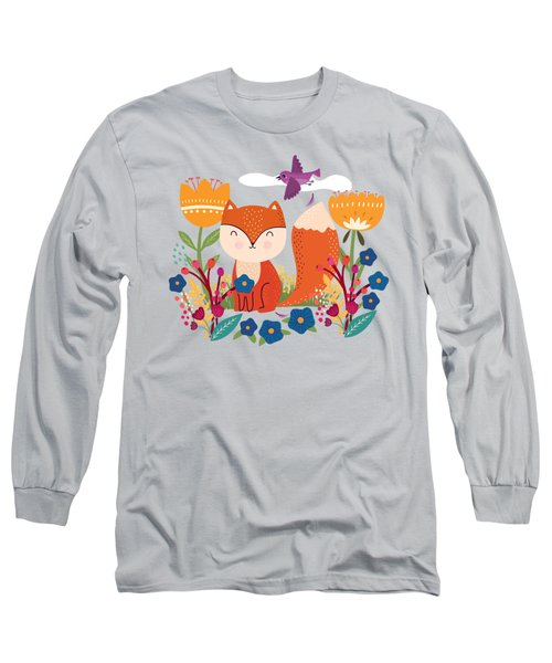 A Fox In The Flowers With A Flying Feathered Friend Long Sleeve T-Shirt