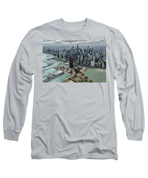 A Helicopter View Of Chicago's Lakefront Long Sleeve T-Shirt
